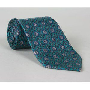 Vtg Tom James Turquoise Geometric Silk Necktie
